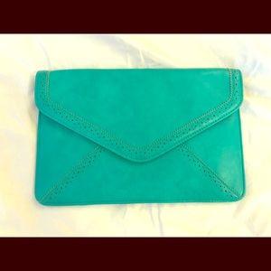 Bright blue/green clutch